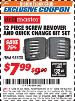 Harbor Freight ITC Coupon 12 PIECE SCREW REMOVER AND QUICK CHANGE BIT SET Lot No. 95530 Dates Valid: 2/1/19 - 2/28/19 - $7.99