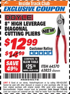 "Harbor Freight ITC Coupon 8"" HIGH LEVERAGE DIAGONAL CUTTING PLIERS Lot No. 63825/64570 Expired: 11/30/18 - $12.99"