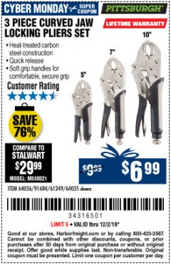 Harbor Freight Coupon 3 PIECE CURVED JAW LOCKING PLIERS SET Lot No. 91684/69341/61249/64035/64036 Expired: 12/2/19 - $6.99