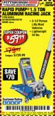Harbor Freight Coupon RAPID PUMP 1.5 TON ALUMINUM RACING JACK Lot No. 68053/69252/60569/62160/62496/62516 Expired: 9/20/17 - $59.99