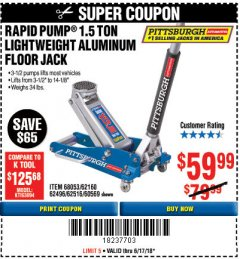 Harbor Freight Coupon RAPID PUMP 1.5 TON ALUMINUM RACING JACK Lot No. 68053/69252/60569/62160/62496/62516 Expired: 6/17/18 - $59.99