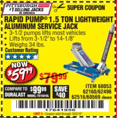 Harbor Freight Coupon RAPID PUMP 1.5 TON ALUMINUM RACING JACK Lot No. 68053/69252/60569/62160/62496/62516 Expired: 10/5/18 - $59.99