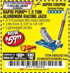 Harbor Freight Coupon RAPID PUMP 1.5 TON ALUMINUM RACING JACK Lot No. 68053/69252/60569/62160/62496/62516 Expired: 8/20/18 - $59.99