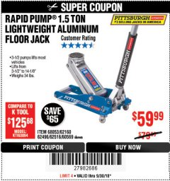 Harbor Freight Coupon RAPID PUMP 1.5 TON ALUMINUM RACING JACK Lot No. 68053/69252/60569/62160/62496/62516 Expired: 9/30/18 - $59.99