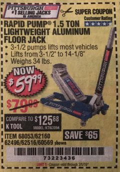 Harbor Freight Coupon RAPID PUMP 1.5 TON ALUMINUM RACING JACK Lot No. 68053/69252/60569/62160/62496/62516 Valid Thru: 2/5/19 - $59.99