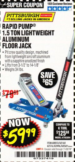 Harbor Freight Coupon RAPID PUMP 1.5 TON ALUMINUM RACING JACK Lot No. 68053/69252/60569/62160/62496/62516 Expired: 11/30/18 - $59.99