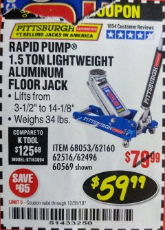 Harbor Freight Coupon RAPID PUMP 1.5 TON ALUMINUM RACING JACK Lot No. 68053/69252/60569/62160/62496/62516 Valid Thru: 12/31/18 - $59.99