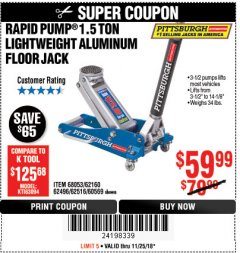 Harbor Freight Coupon RAPID PUMP 1.5 TON ALUMINUM RACING JACK Lot No. 68053/69252/60569/62160/62496/62516 Expired: 11/25/18 - $59.99