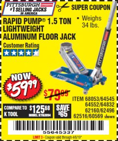 Harbor Freight Coupon RAPID PUMP 1.5 TON ALUMINUM RACING JACK Lot No. 68053/69252/60569/62160/62496/62516 Valid Thru: 4/6/19 - $59.99