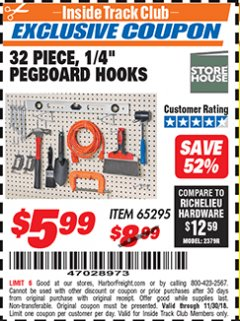 "Harbor Freight ITC Coupon 32 PIECE, 1/4"" PEGBOARD HOOKS Lot No. 65295 Expired: 11/30/18 - $5.99"
