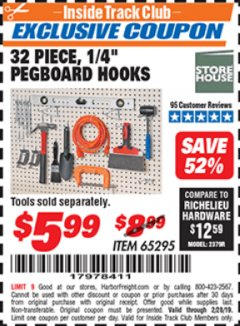 "Harbor Freight ITC Coupon 32 PIECE, 1/4"" PEGBOARD HOOKS Lot No. 65295 Expired: 2/28/19 - $5.99"