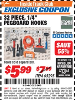 "Harbor Freight ITC Coupon 32 PIECE, 1/4"" PEGBOARD HOOKS Lot No. 65295 Expired: 4/30/19 - $5.99"