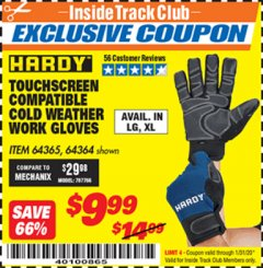 Harbor Freight ITC Coupon HARDY COLD WEATHER WORK GLOVES LARGE Lot No. 64365/64364 Valid: 1/1/20 - 1/31/20 - $9.99