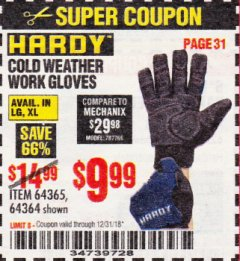 Harbor Freight Coupon HARDY COLD WEATHER WORK GLOVES LARGE Lot No. 64365/64364 Expired: 12/31/18 - $9.99