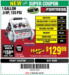 Harbor Freight Coupon FORTRESS 1 GALLON, .5HP, 135 PSI OIL FREE PORTABLE AIR COMPRESSOR Lot No. 64592/64687 Expired: 12/2/18 - $129.99