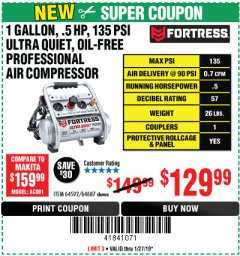 Harbor Freight Coupon FORTRESS 1 GALLON, .5HP, 135 PSI OIL FREE PORTABLE AIR COMPRESSOR Lot No. 64592/64687 Expired: 1/27/19 - $129.99