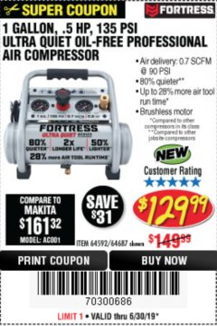 Harbor Freight Coupon FORTRESS 1 GALLON, .5HP, 135 PSI OIL FREE PORTABLE AIR COMPRESSOR Lot No. 64592/64687 Expired: 6/30/19 - $129.99