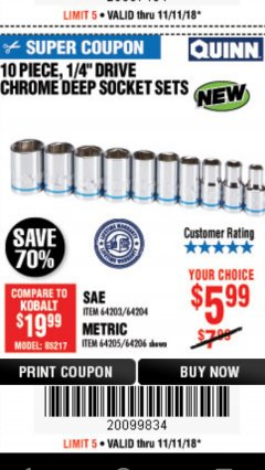 "Harbor Freight Coupon 10 PIECE, 1/4"" DRIVE CHROME DEEP SOCKET SET Lot No. 64206 Expired: 11/11/18 - $5.99"