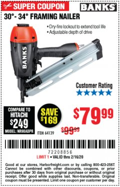 Harbor Freight Coupon BANKS 30'-34' FRAMING NAILER Lot No. 64139 Expired: 2/16/20 - $79.99
