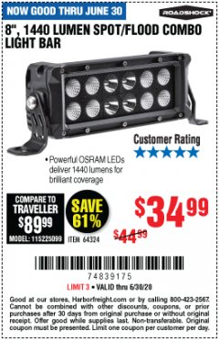 Harbor Freight Coupon ROADSHOCK 1440 LUMENS 8 IN. COMBO LIGHT BAR Lot No. 64324 Valid Thru: 6/30/20 - $34.99