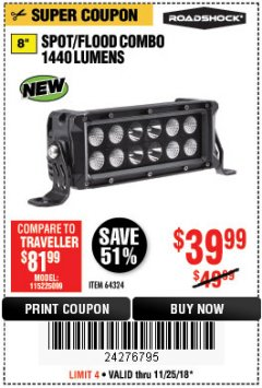 Harbor Freight Coupon ROADSHOCK 1440 LUMENS 8 IN. COMBO LIGHT BAR Lot No. 64324 Expired: 11/25/18 - $39.99