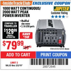 Harbor Freight ITC Coupon 1000 WATT CONTINUOUS / 2000 WATT PEAK POWER INVERTER Lot No. 63523 Expired: 3/5/19 - $79.99