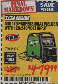 Harbor Freight Coupon TITANIUM MIG 170 WELDER Lot No. 64805 Expired: 1/31/19 - $479.99