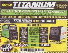 Harbor Freight Coupon TITANIUM MIG 170 WELDER Lot No. 64805 Expired: 1/31/19 - $449.99