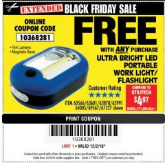 Harbor Freight FREE Coupon ULTRA BRIGHT LED PORTABLE WORK LIGHT / FLASHLIGHT Lot No. 60566/63601/63991/64005/63878/69567 Expired: 12/2/18 - FWP