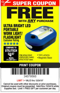 Harbor Freight FREE Coupon ULTRA BRIGHT LED PORTABLE WORK LIGHT / FLASHLIGHT Lot No. 60566/63601/63991/64005/63878/69567 Expired: 12/24/18 - FWP