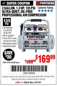 Harbor Freight Coupon FORTRESS 2 GALLON 1.2HP, 135PSI AIR COMPRESSOR Lot No. 64688/64596 Valid: 7/16/19 7/21/19 - $169.99