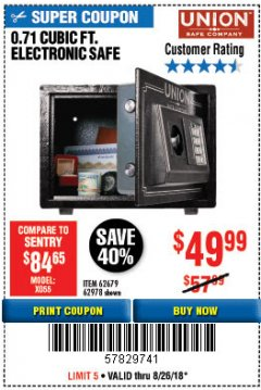 Harbor Freight Coupon 0.71 CU. FT. ELECTRONIC DIGITAL SAFE Lot No. 45891/61724/62679 Expired: 8/26/18 - $49.99
