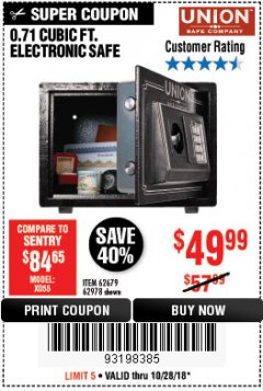 Harbor Freight Coupon 0.71 CU. FT. ELECTRONIC DIGITAL SAFE Lot No. 45891/61724/62679 Expired: 10/28/18 - $49.99