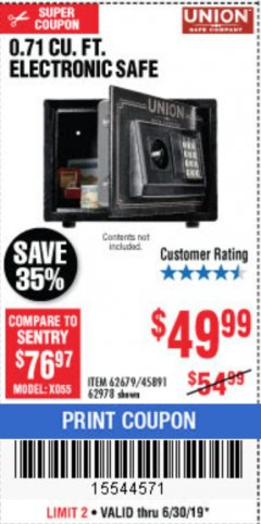 Harbor Freight Coupon 0.71 CU. FT. ELECTRONIC DIGITAL SAFE Lot No. 45891/61724/62679 Expired: 6/30/19 - $49.99