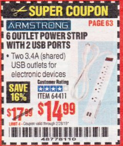 Harbor Freight Coupon 6 OUTLET POWER STRIP WITH 2 USB PORTS Lot No. 64411 Expired: 2/28/19 - $14.99