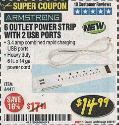 Harbor Freight Coupon 6 OUTLET POWER STRIP WITH 2 USB PORTS Lot No. 64411 Valid Thru: 4/30/19 - $14.99