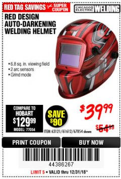 Harbor Freight Coupon RED DESIGN AUTO-DARKENING WELDING HELMET Lot No. 63121/61612/67854 Valid Thru: 12/31/18 - $39.99