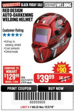 Harbor Freight Coupon RED DESIGN AUTO-DARKENING WELDING HELMET Lot No. 63121/61612/67854 Expired: 12/2/18 - $39.99