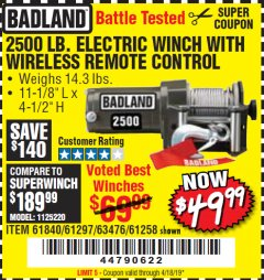 Harbor Freight Coupon 2500 LB. ELECTRIC WINCH WITH WIRELESS REMOTE CONTROLL Lot No. 61840/61297/63476/61258 Valid Thru: 4/18/19 - $49.99
