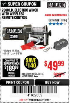 Harbor Freight Coupon 2500 LB. ELECTRIC WINCH WITH WIRELESS REMOTE CONTROLL Lot No. 61840/61297/63476/61258 Expired: 2/17/19 - $49.99