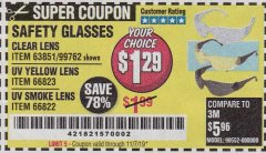 Harbor Freight Coupon SAFETY GLASSES Lot No. 66822/66823/63851/99762 Valid Thru: 11/7/19 - $1.29