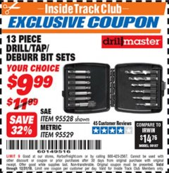 Harbor Freight ITC Coupon DRILLMASTER 13 PIECE DRILL/TAP/DEBURR BIT SETS (SAE OR METRIC) Lot No. 95528/95529 Expired: 12/31/18 - $9.99