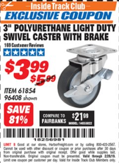 "Harbor Freight ITC Coupon 3"" POLYURETHANE SWIVEL CASTER WITH BRAKE Lot No. 61854/96408 Expired: 2/28/19 - $3.99"