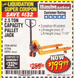 Harbor Freight Coupon 2.5 TON PALLET JACK Lot No. 68761/68760/61946 EXPIRES: 6/30/18 - $199.99