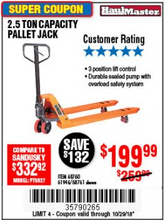 Harbor Freight Coupon 2.5 TON PALLET JACK Lot No. 68761/68760/61946 EXPIRES: 10/29/18 - $199.99