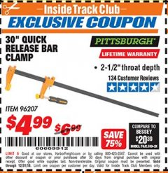 "Harbor Freight ITC Coupon 30"" QUICK RELEASE BAR CLAMP Lot No. 96207 Expired: 12/31/18 - $4.99"