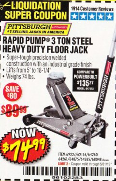 Harbor Freight Coupon RAPID PUMP 3 TON HEAVY DUTY STEEL FLOOR JACK Lot No. 68048/69227/62116/62590/62584 Expired: 5/31/19 - $74.99