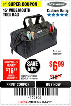 "Harbor Freight Coupon 15"" WIDE MOUTH TOOL BAG Lot No. 62348/62341/61469 Valid Thru: 12/24/18 - $6.99"