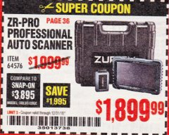 Harbor Freight Coupon ZURICH ZR-PRO PROFESSIONAL AUTO SCANNER Lot No. 64576 Expired: 12/31/18 - $1899.99