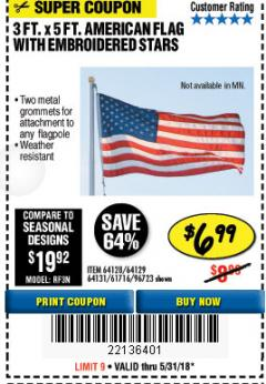 Harbor Freight Coupon 3 FT. X 5 FT. AMERICAN FLAG WITH EMBROIDERED STARS Lot No. 61716/96723/64128/64129/64131 Expired: 5/31/18 - $6.99